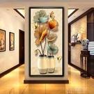 掛畫入戶玄關裝飾畫豎版過道走廊牆面畫現代簡約招財風水壁畫客廳掛畫 【全館免運】
