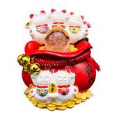 【金石工坊】五福聚寶風水球/流水噴泉(高18CM)招財貓 七彩LED燈 開店送禮 開業禮品 開運風水擺飾