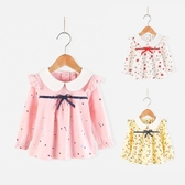 新品上市秋裝新款女童長袖上衣兒童百搭T恤可愛寶寶翻領小飛袖打底衫