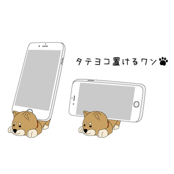 Hamee 日本 DECOLE wankoron 呆萌柴犬 秋田犬 植絨公仔 趴趴手機座 (茶柴) 586-741194
