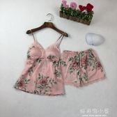 女式睡衣夏薄款性感蕾絲吊帶短褲套裝印花寬鬆家居服女新款可外穿 好再來小屋