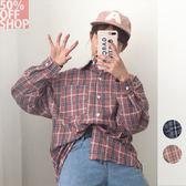 50%OFF SHOP chic寬鬆bf風復古百搭磨毛棉麻格子襯衫外套(2色)【G034476C】