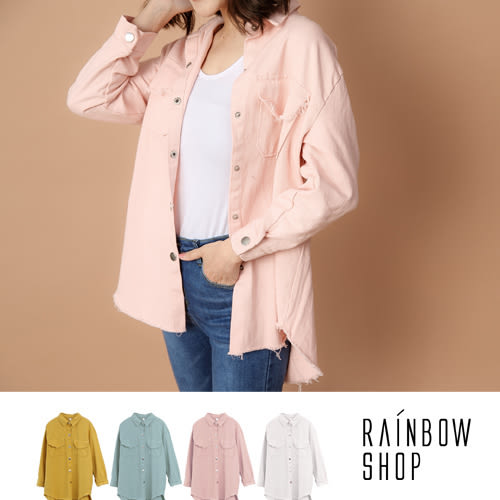 不修邊抽鬚排釦襯衫外套-P-Rainbow【A06505】