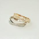 戒指微鑲閃鑽交叉戒指食指戒尾戒首飾禮物指環飾品女配飾J