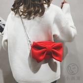 鏈條側背小包搞怪小包包女可愛蝴蝶結斜背包【小酒窩服飾】