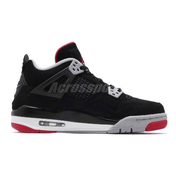 Nike Air Jordan 4 Retro GS Bred OG 黑 紅 經典款 女鞋 大童鞋 喬丹4代 【PUMP306】 408452-060