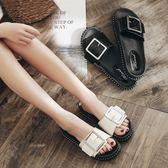 新款沙灘鞋時尚拖鞋女夏季平底女士一字拖外穿防滑涼拖鞋厚底