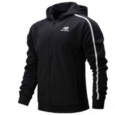 New Balance 男裝 外套 連帽 休閒 針織 刺繡LOGO 開放式口袋 黑【運動世界】AMJ01512BK