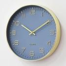 金色簡約現代INS掛鐘藍色時鐘客廳臥室靜音掛鐘北歐風格數字歐美 雙十二全館免運