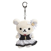 小禮堂 懶懶熊 牛奶熊 絨毛吊飾 玩偶吊飾 玩偶鑰匙圈 包包吊飾 (白點洋裝) 4974413-78546
