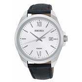 【台南 時代鐘錶 SEIKO】精工 SUR283P1 羅馬字 日期顯示 皮革錶帶男錶 42mm 銀/黑 6N42-00H0C