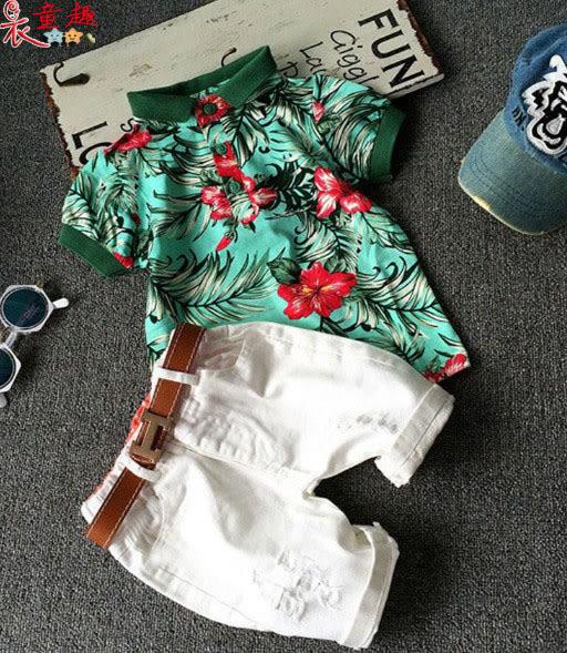 衣童趣 ♥帥氣小型男 潮流花色polo衫 白色五分褲 時尚小童套裝