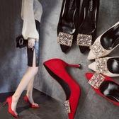 鞋子女新款尖頭絨面細跟高跟鞋方扣水鑚淺口單鞋婚鞋工作女鞋  卡布奇諾