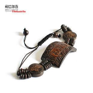 手工雕刻藏文六字真言藏飾骨手鏈