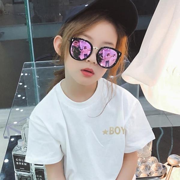 18新款兒童太陽鏡男童女童墨鏡潮小孩眼鏡防紫外線寶寶蛤蟆鏡個性