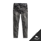 【Roush】藍車線雪花刷痕黑色直筒單寧褲 - 【XH010】