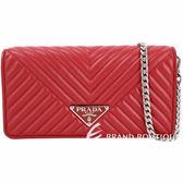 PRADA Diagramme WOC 絎縫納帕皮革手拿鍊帶包(火紅色) 1910177-54