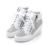 MICHELLE PARK 自信格調水鑽雙拉練內增高休閒鞋白