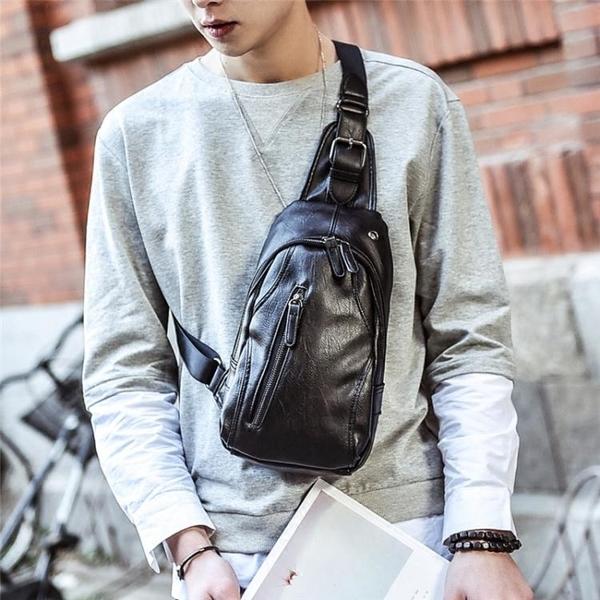 新款休閒胸包男韓版腰包皮質小包包男士斜背包側背包運動背包潮包 黛尼時尚精品