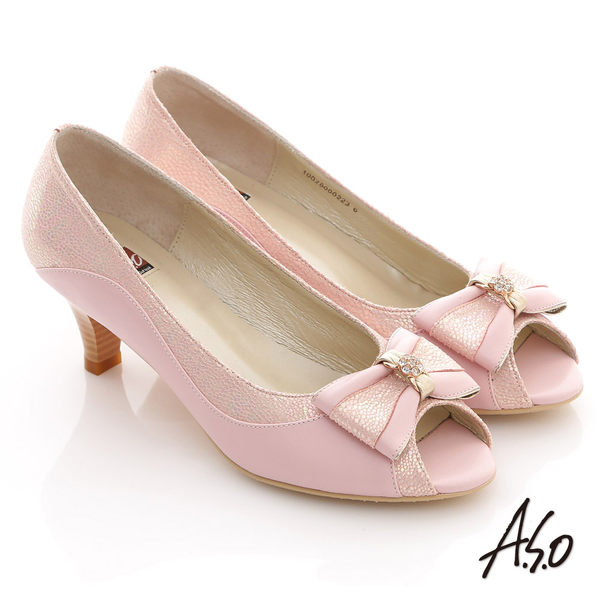 A.S.O 典雅職場 全真皮立體蝴蝶飾露趾低跟鞋 粉