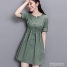 洋裝棉麻連身裙繫腰夏季新款純色v領小個子收腰顯瘦百搭遮肚氣質a字裙 快速出貨