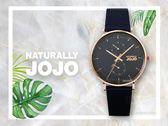 【時間道】NATURALLY JOJO  時尚簡約腕錶禮盒組 / 深藍面玫瑰金殼藍米蘭+藍皮帶(JO96953-55R)免運費