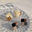耳環 日安法式礦石拼接耳環(925銀針) 二色-小C館日系