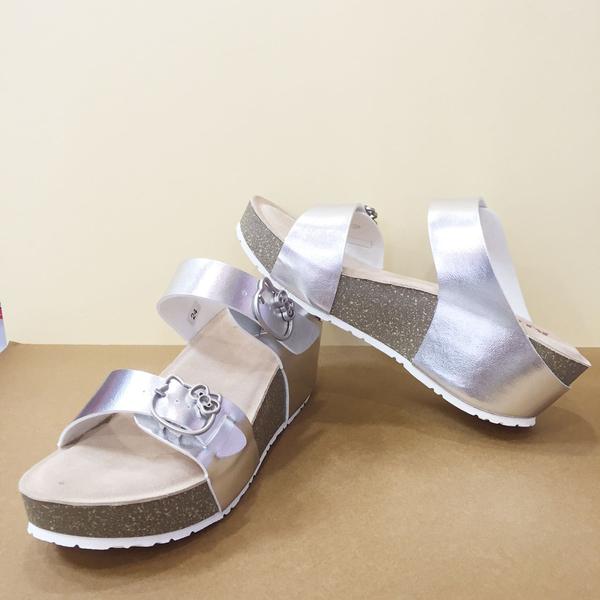 【震撼精品百貨】Hello Kitty 凱蒂貓~KITTY厚底拖鞋-銀色(尺寸23~24.5號)獨賣商品