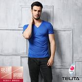 【TELITA】吸溼涼爽短袖T恤 V領衫 藍色