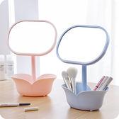 創意簡約臺式化妝鏡帶儲物盒 二合一收納儲物梳妝鏡可旋轉公主鏡夢想巴士