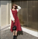 洋裝 2020年新款過年喜慶女裝大碼胖mm法式連衣裙子紅色新年毛衣【新年禮物】