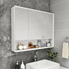 浴室鏡櫃 橡木浴室鏡櫃挂牆式衛生間鏡子帶置物架洗漱台收納櫃實木儲物單獨 快速出貨