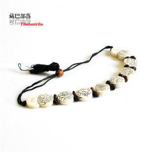 原色犛牛骨手工刻花藏飾手鏈