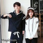 【現貨】帽t 韓版情侶連帽上衣 白色/XL(X633)★MagicMan★