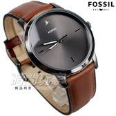 FOSSIL 雅痞風範 都會腕錶 薄型錶框 鑲鑽時刻 真皮錶帶 咖啡 男錶 中性錶 防水手錶 FS5479