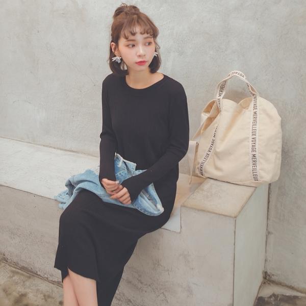 MUMU【O80943】素面直紋坑條針織合身洋裝。兩色