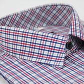 【金‧安德森】白底藍紅格紋相間窄版長袖襯衫