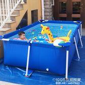 游泳池 大型加厚兒童小孩游泳池家用成人超大號水上樂園養魚支架摺疊水池【1995新品】