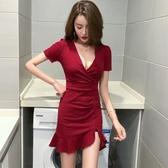夜店洋裝 夏裝2020新款女主播夜店性感低胸V領短袖高腰緊身開叉包臀連身裙