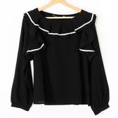【MASTINA】大波浪領上衣-黑 好康優惠