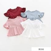 童裝夏季新品純棉女童荷葉邊短袖上衣娃娃衫T恤韓版中小童寶寶 萬客城