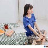 《DA6907》高含棉字母T拼接格紋裙襬短袖假兩件洋裝 OrangeBear