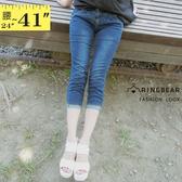 牛仔褲--修身顯瘦高挑蜜桃線壓摺後W車線口袋刷色牛仔七分褲(XL-7L)-S77眼圈熊中大尺碼