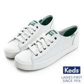 KEDS KICKSTART 時尚皮革透氣孔休閒鞋 白綠 173W132312 女鞋