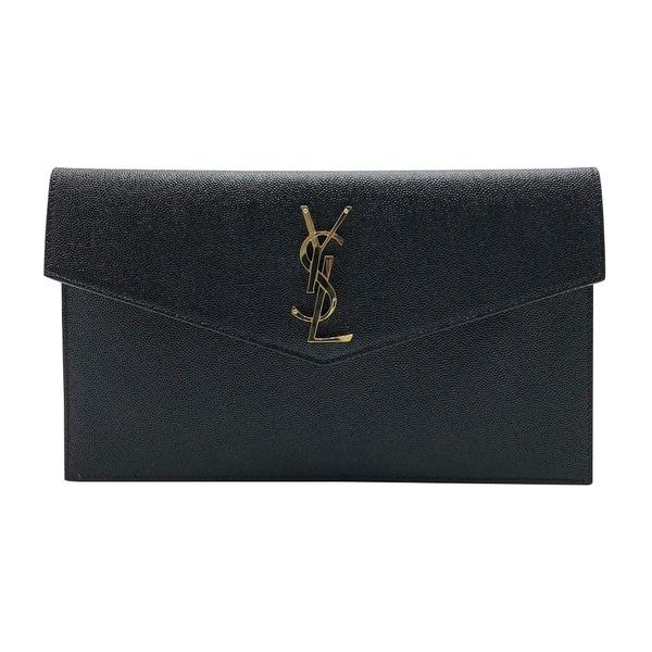 【台中米蘭站】全新品 YSL 經典金Logo牛皮信封釦式手拿包(565739-黑)