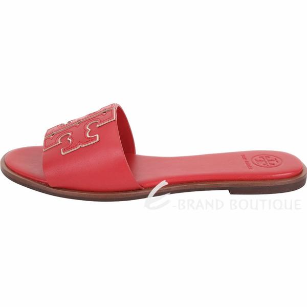 TORY BURCH Ines T字撞色鑲邊牛皮拖鞋/涼鞋(紅色) 1920733-54