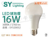 SYLVANIA 65415TW LED 16W 3000K E27 黃光 全電壓 球泡燈_SY520052