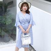中大尺碼~不規則裙擺條紋修身短袖連衣裙(XL~4XL)