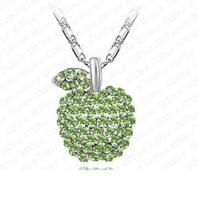 925純銀項鍊 鑲鑽墜飾-可愛蘋果生日母親節禮物女飾品3色73aj338【巴黎精品】