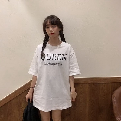 (下殺)彈性棉短袖t恤女中長版【08SG06468】